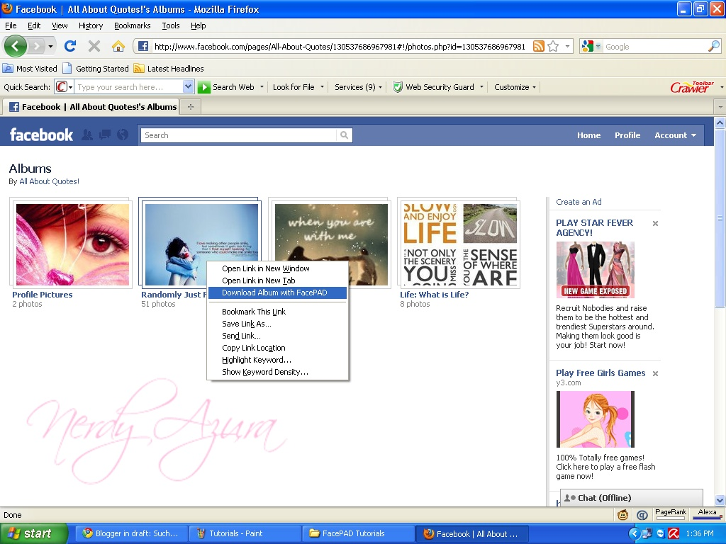 Can I download photos (present on the wall) from Facebook
